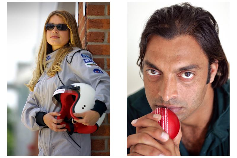 Female Racing Driver & Shoab Akhtar